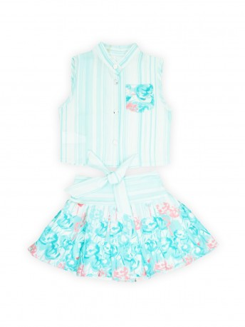 Комплект для девочек текстильный Блузка+Юбка