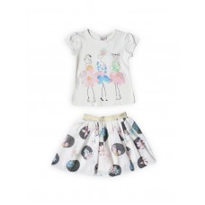 Комплект для девочек текстильный Футболка+Юбка