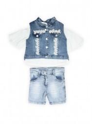 Комплект для девочек текстильный Жилет+Футболка+Юбка