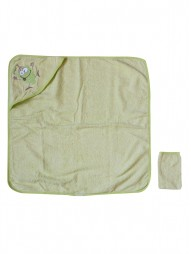 Полотенце для купания с уголком + рукавичка 70x70
