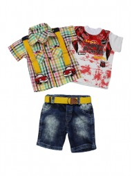 Комплект тройка для мальчиков(текстильная рубашка ,трикотажная футболка,текстильные шорты)