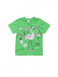 Футболка для девочек Зеленая Фламинго