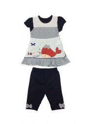 Комплект трикотажный для девочек: платье +лосины