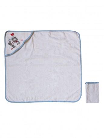 Полотенце для купания с уголком + рукавичка